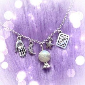 Crystal Ball Palm Reading Moon Star Tarot Necklace